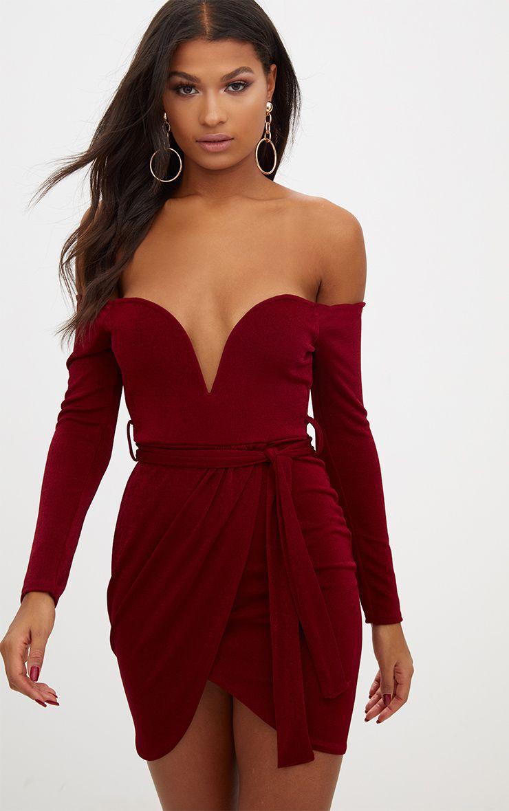 Berry Sweetheart Tie Waist Bandeau Bodycon Dress