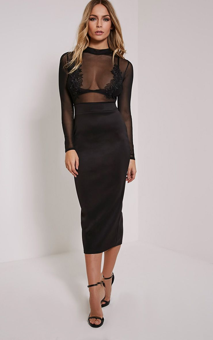 Fabia Black High Neck Applique Mesh Midi Dress 1