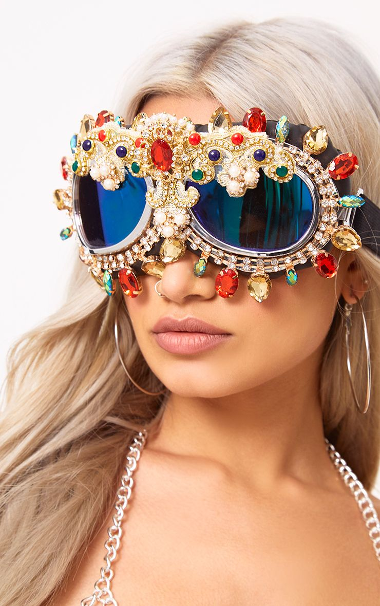 Inga Gold Multi Crystal Festival Googles