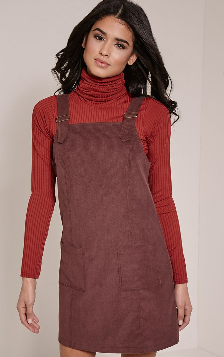 Maxine Plum Cord Pinafore Dress 1