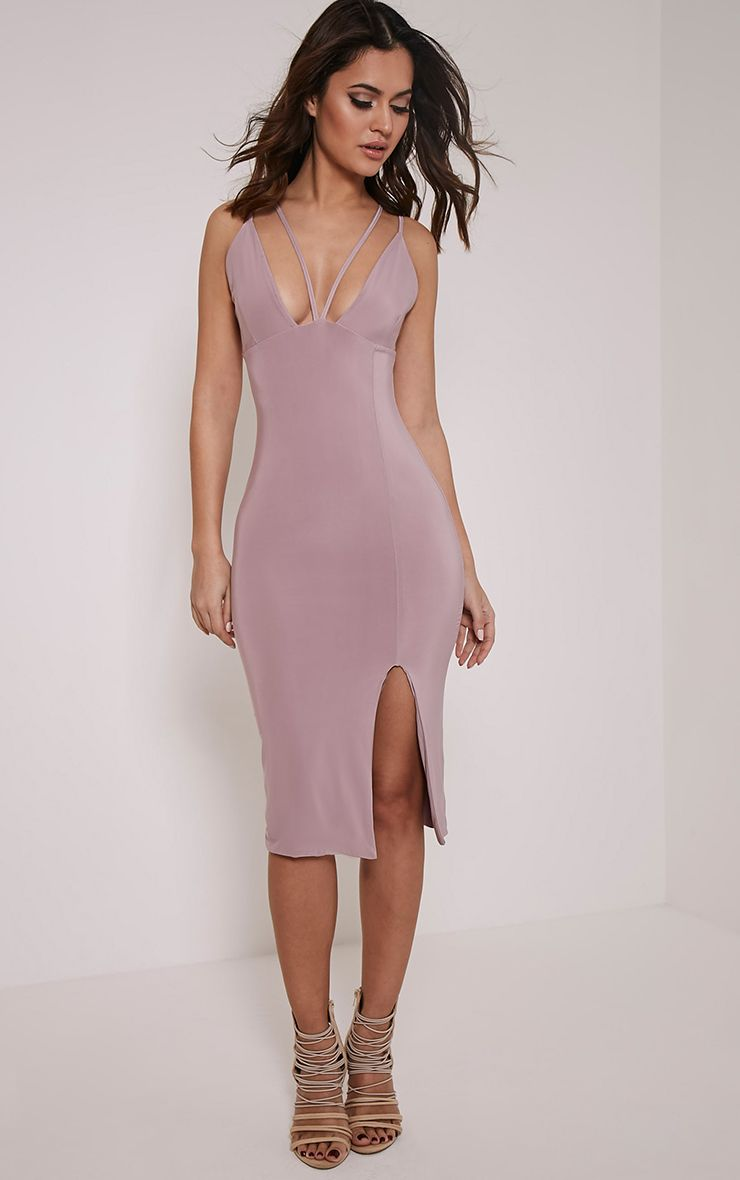 Tana Mauve Double Strap Slinky Midi Dress 1