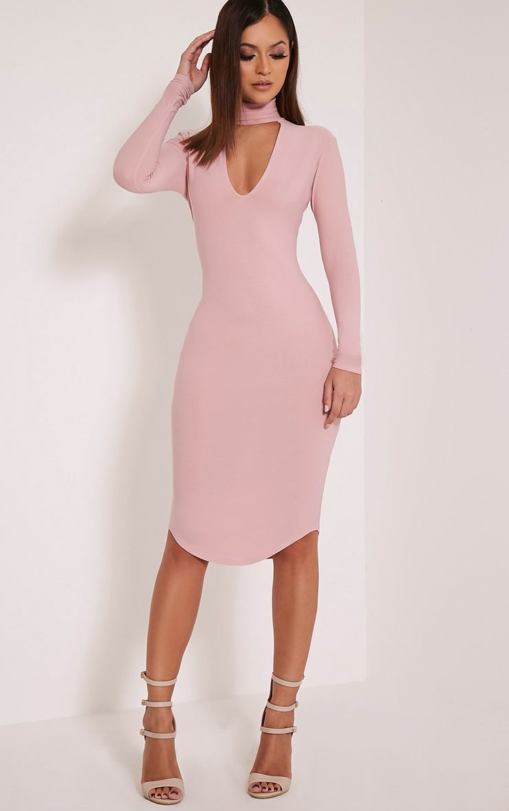 Malaya Dusty Pink Crepe Choker Detail Midi Dress 1
