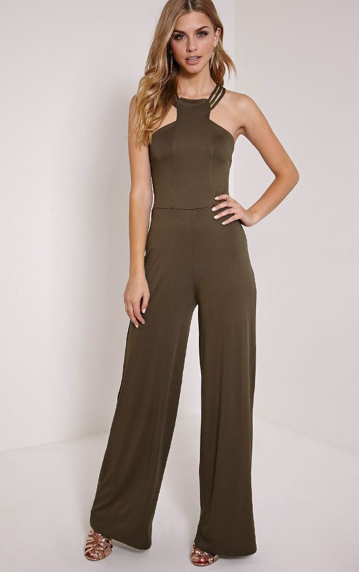 Rachelle Khaki Cross Back Jumpsuit 1