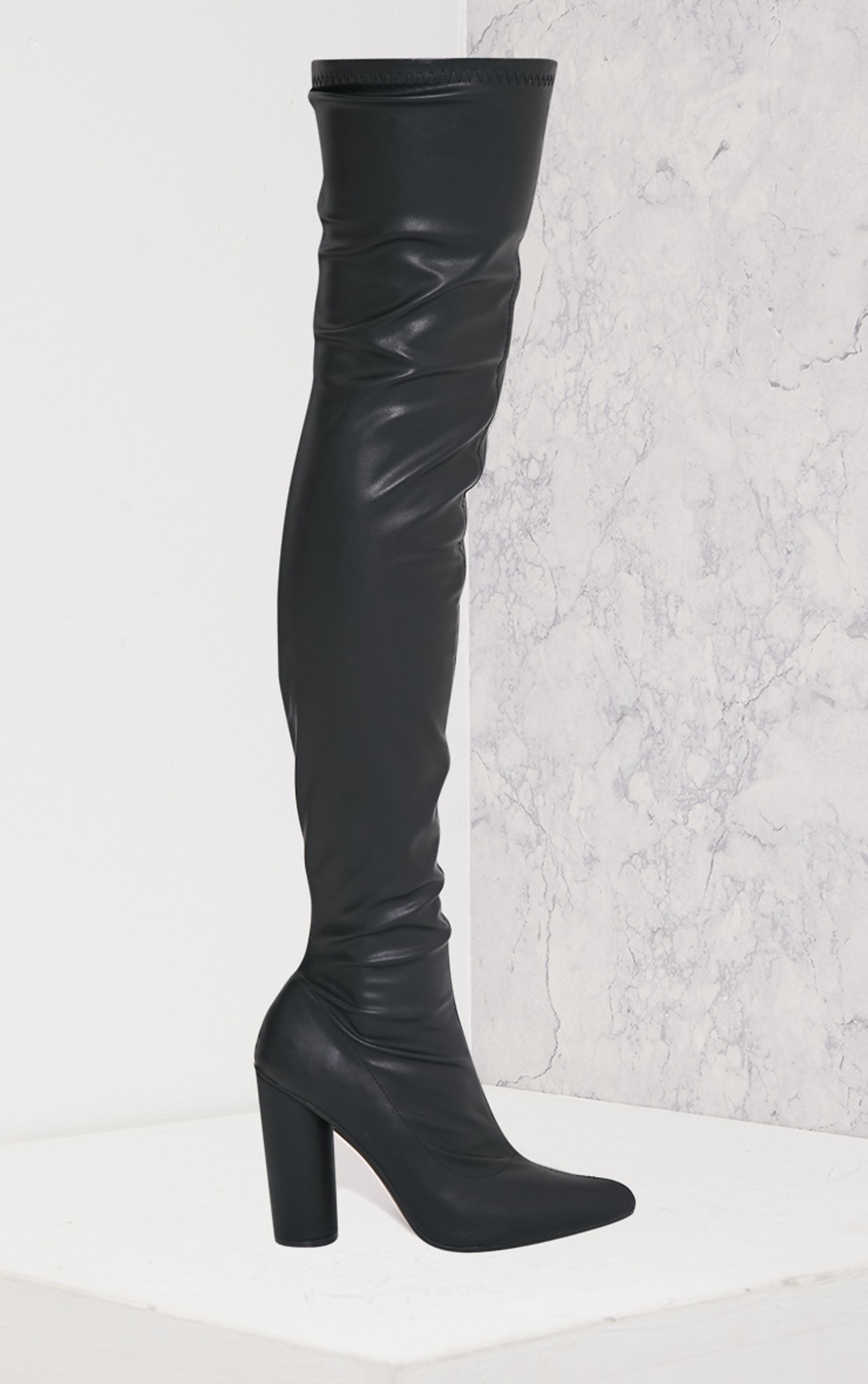 Leenah Black PU Pointed Thigh High Heeled Boots 3