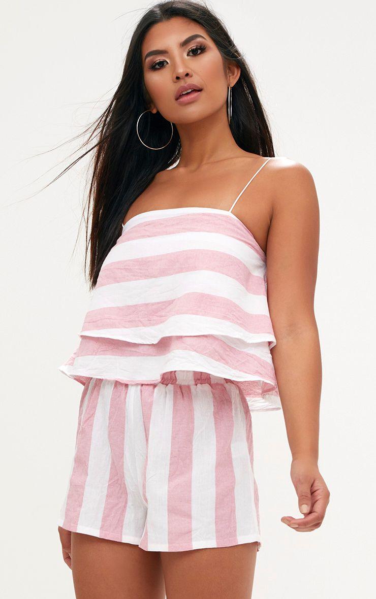 Pink Bold Stripe Beach Shorts