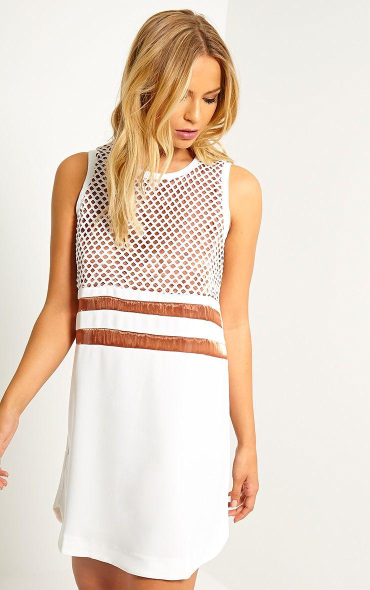 Tamsin White Fishnet Shift Dress 1