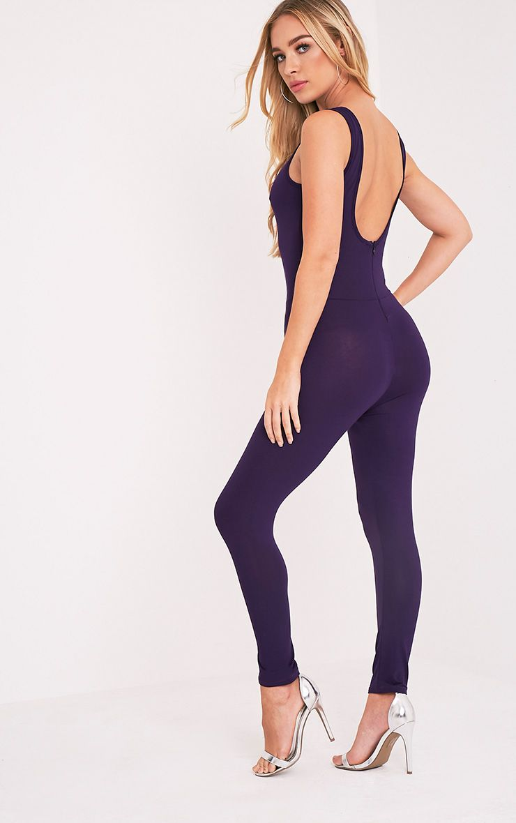 Katie Purple Scoop Back Fitted Cropped Leg Jumpsuit 1