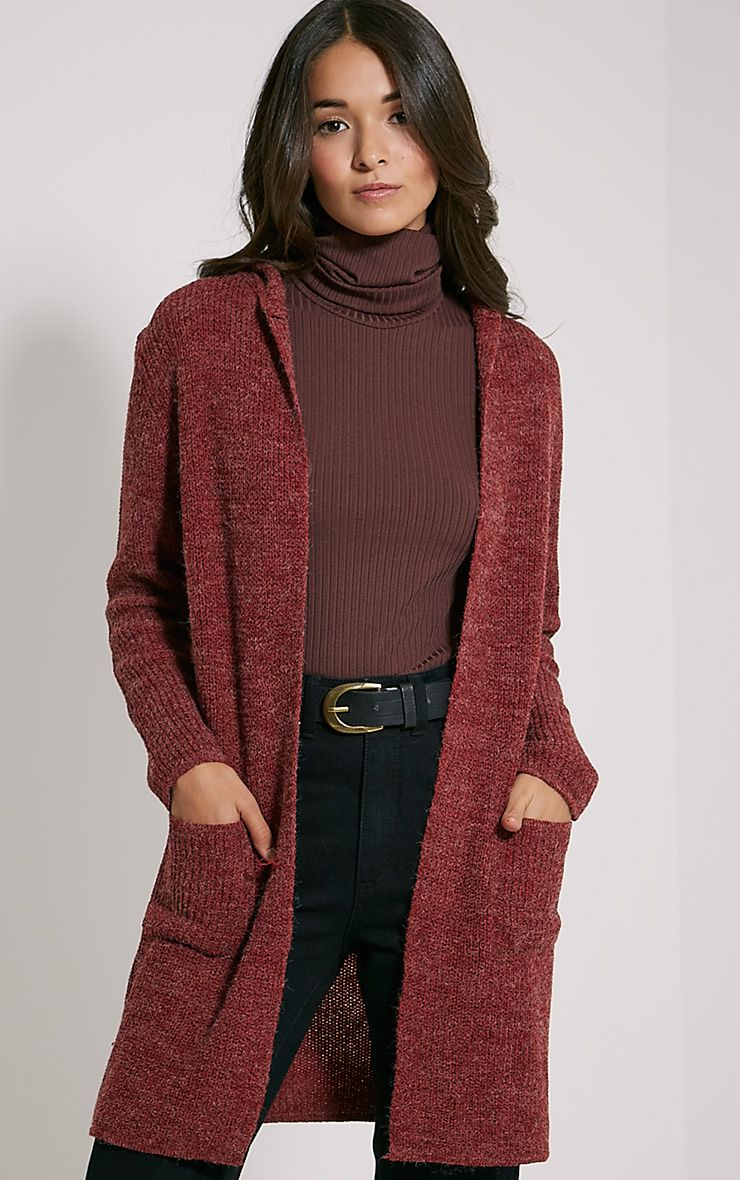Selene Burgundy Knitted Hooded Cardigan 1