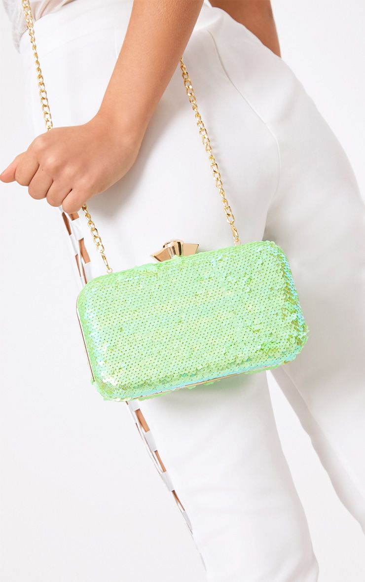 Lime Green Sequin Box Clutch
