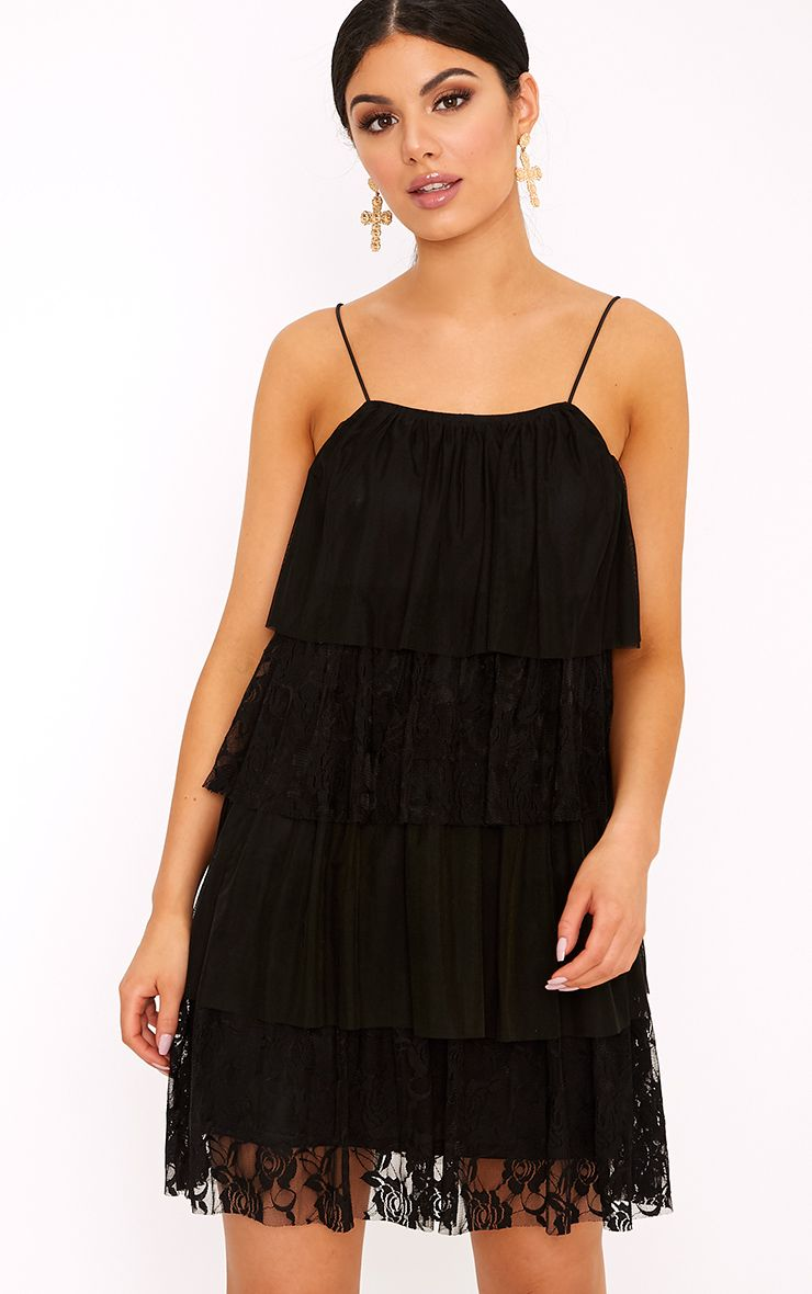 Sarsha Black Chiffon Lace Frill Shift Dress