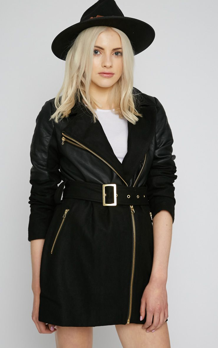 Ira Black Leather Panel Belted Coat  1