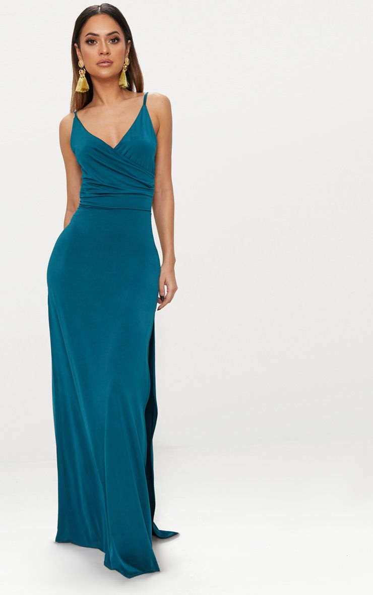 Emerald Green Strappy Plunge Slinky Maxi Dress