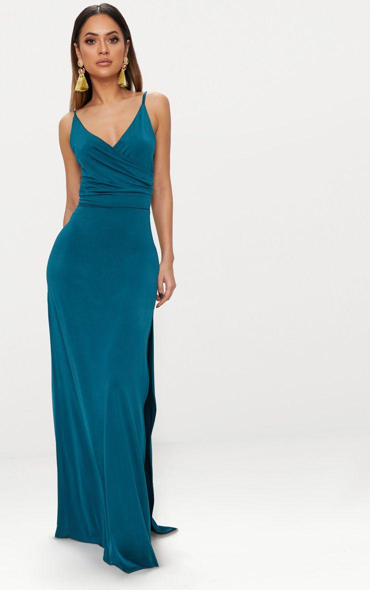 Emerald Green Strappy Plunge Slinky Maxi Dress