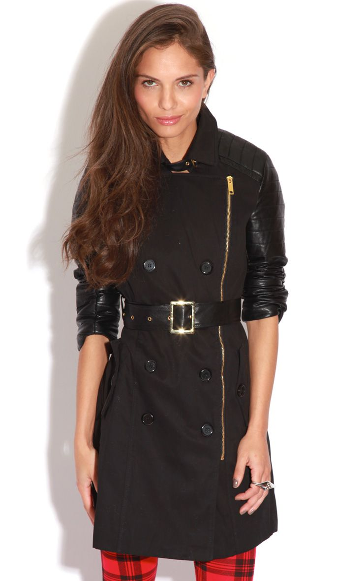 Karishma Black Leather Sleeve Trench Coat  1