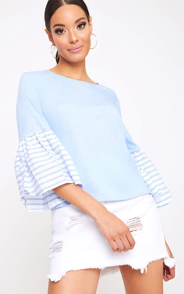 Baby Blue Stripe Frill Sleeve Jersey T Shirt