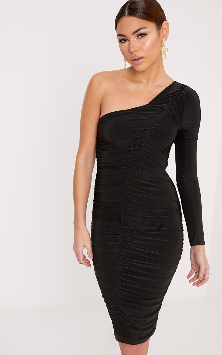 Skylar Black Slinky Ruched One Shoulder Midi Dress