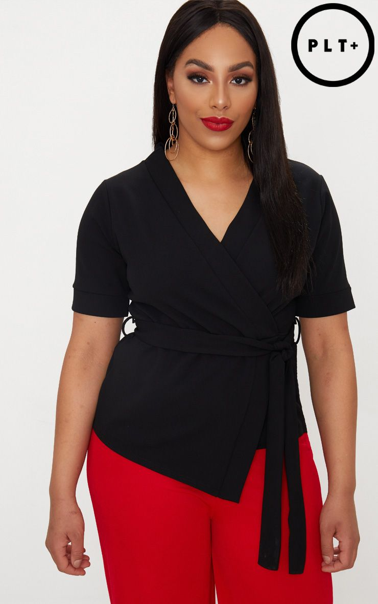 Plus Black Wrap Detail Top Pretty Little Thing New And Fashion 0lFRf
