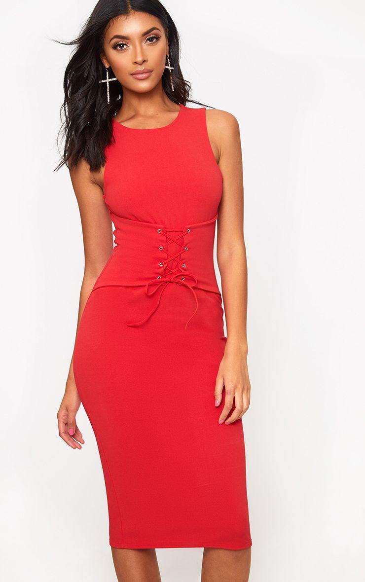 Robe midi rouge détail corset