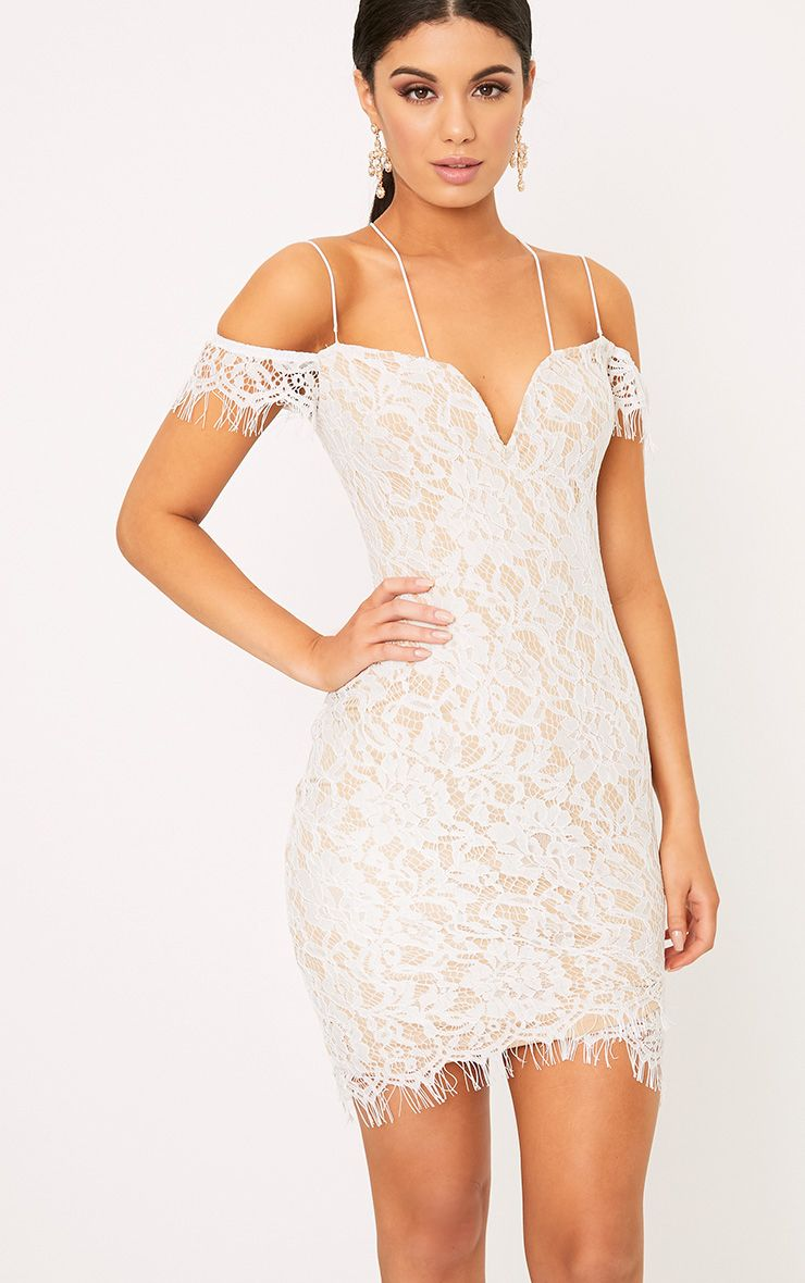 Siah White Lace Double Strap Bodycon Dress