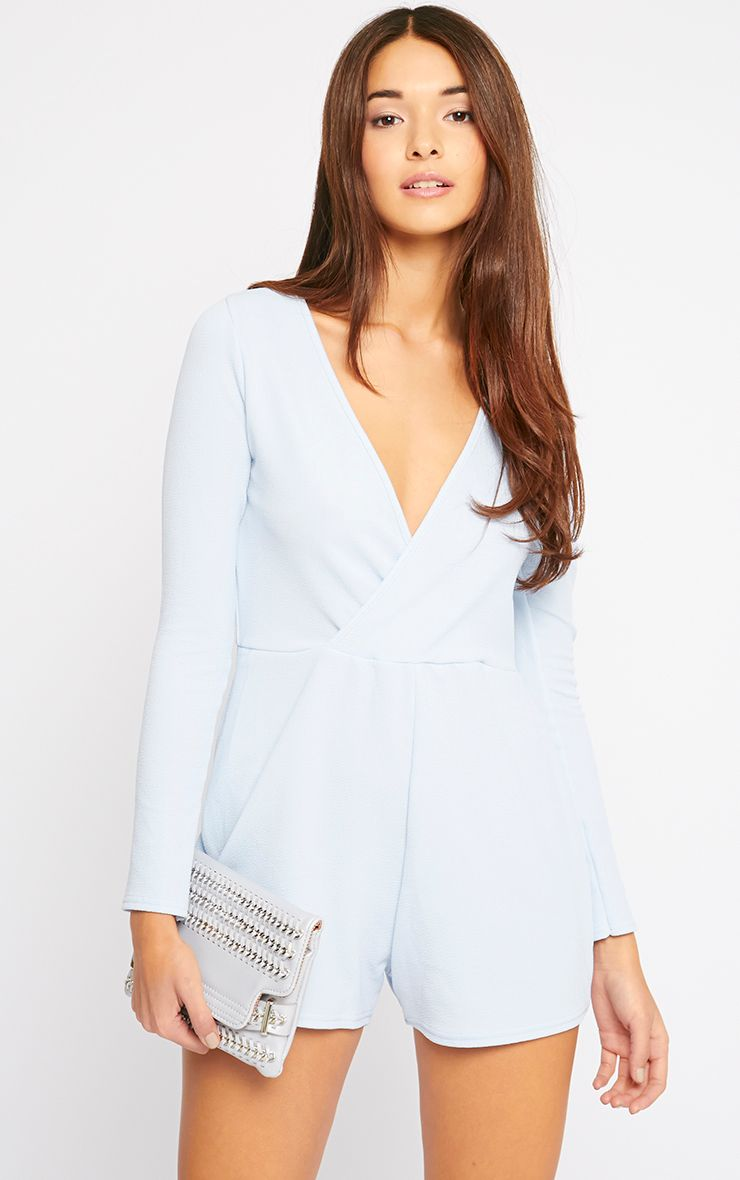 Bailey Powder Blue Wrap Over Crepe Playsuit  1