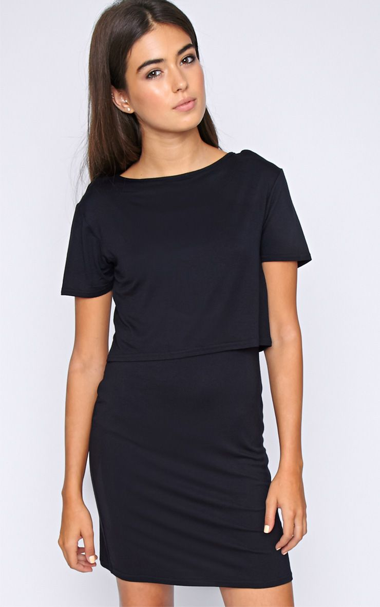 Fran Black Layered Tshirt Dress with Open Back  1