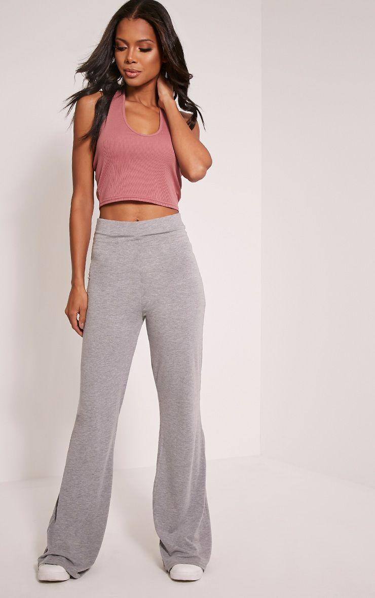 Basic Grey Jersey Wide Leg Trousers 1