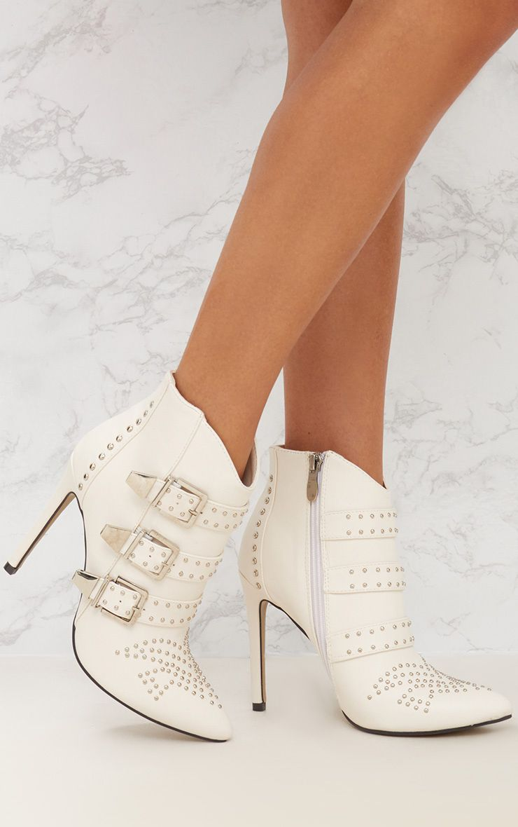 White Studded Buckle Ankle Boots