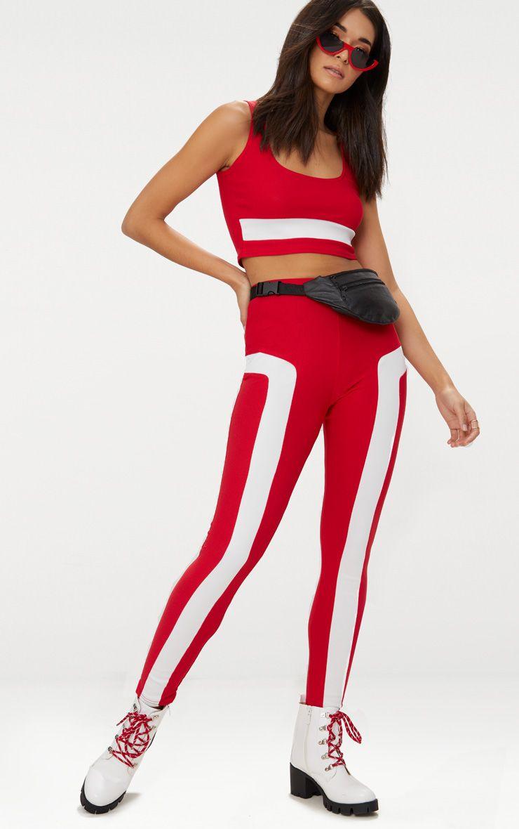 Red Contrast Panel Legging