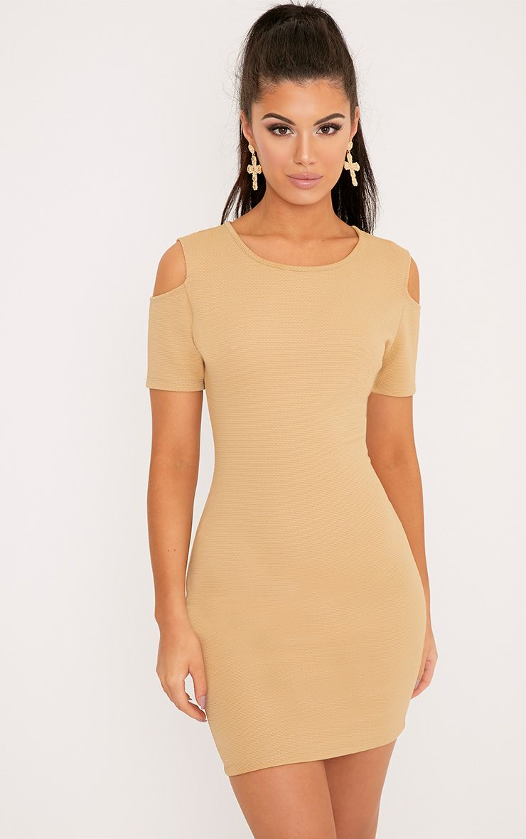 Alarnia Camel Cold Shoulder Bodycon Dress