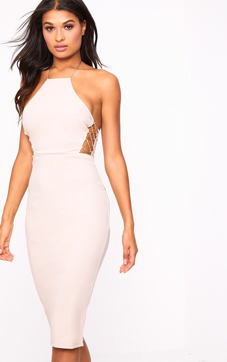 Nude Lace Side High neck Bodycon Dress