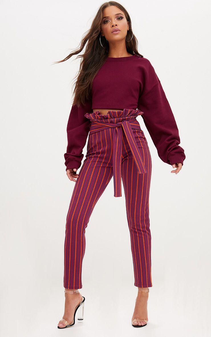 Burgundy Stripe Paperbag Skinny Trousers 1