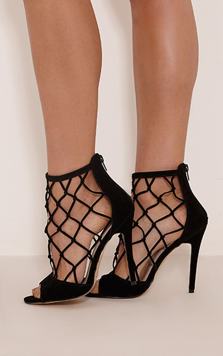 Yasmin Black Net Detail Heeled Sandals 1