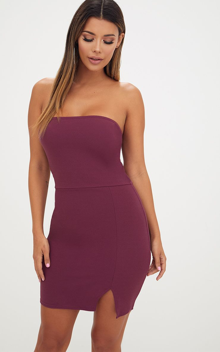 Layala Aubergine Split Detail Bandeau Bodycon Dress