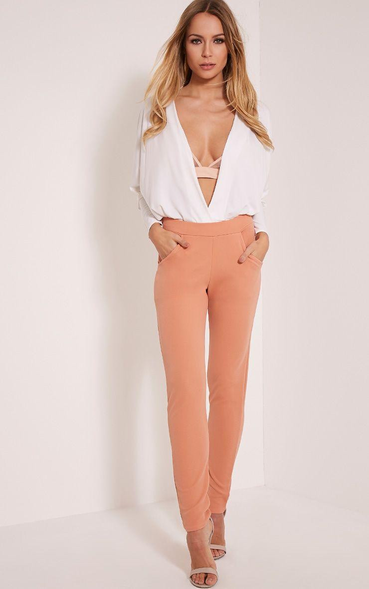 Sage Blush Crepe Cigarette Trousers 1