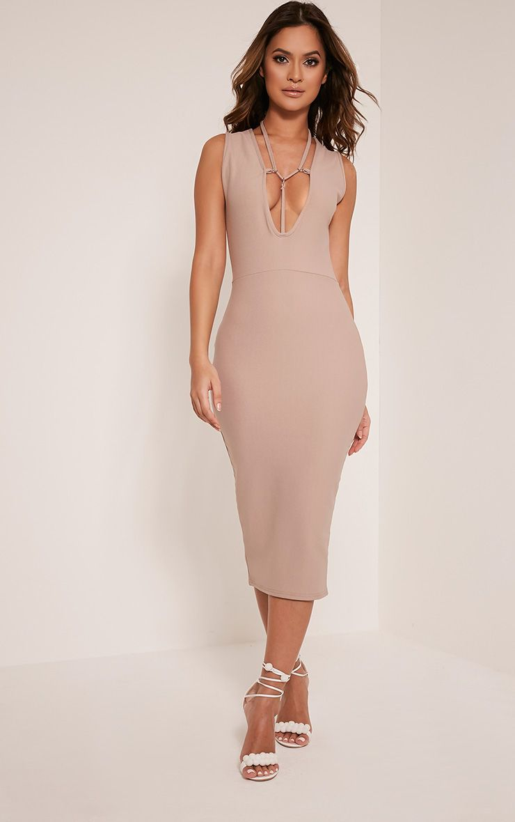 Marny Taupe Harness Detail Midi Dress