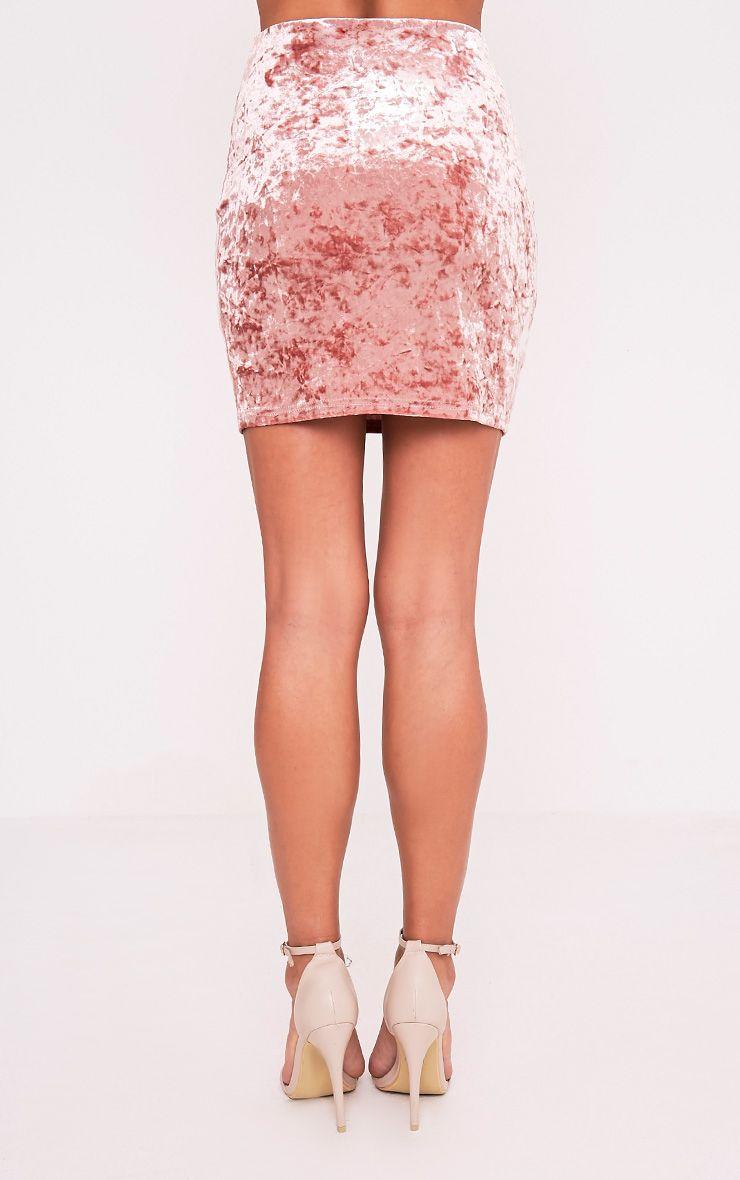 Sinead minijupe rose poudré fendue sur le côté en velours écrasé 5