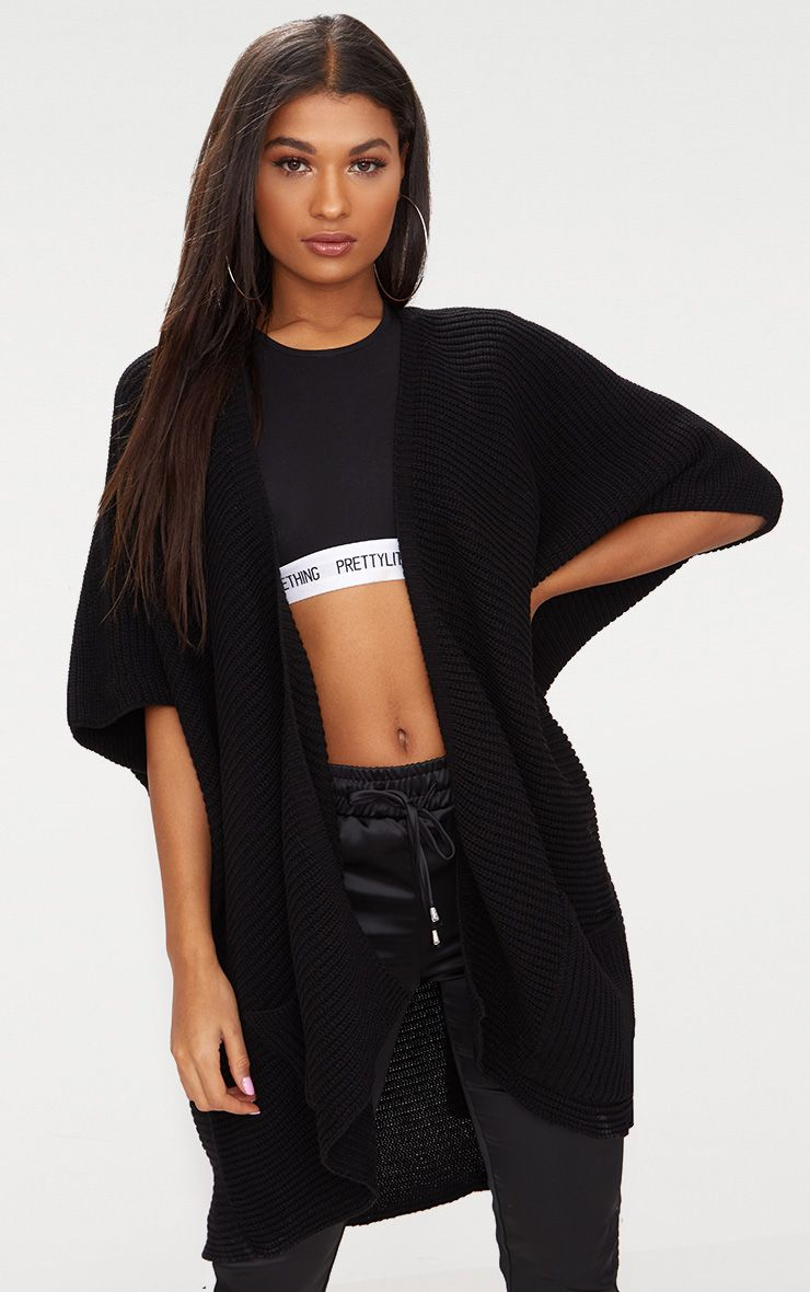 Black Chunky Knit 3/4 Sleeve Wrap Cardigan