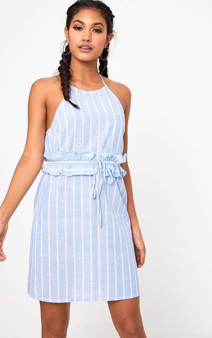 Blue Stripe Halter Neck Frill Waist Shift Dress