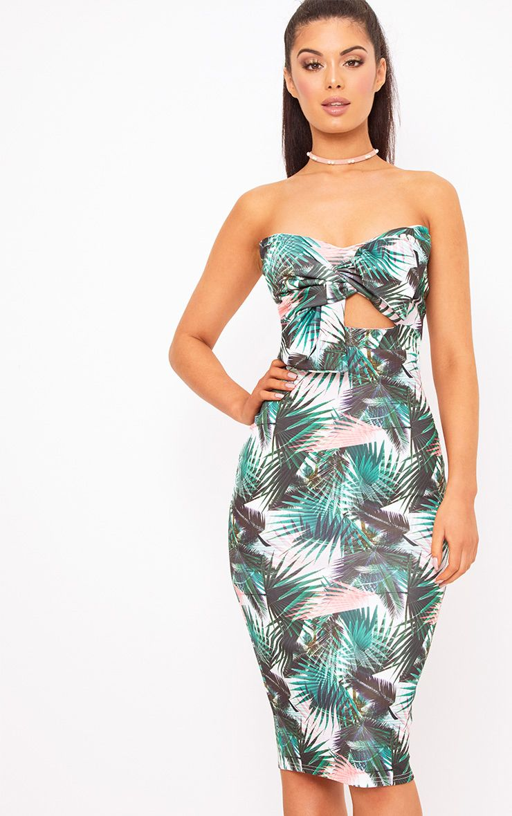 Green Palm Print Bow Detail Scuba Midi Dress