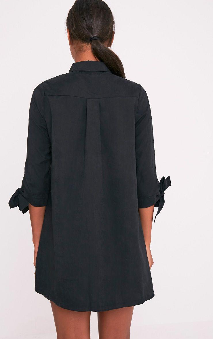 Maysia robe chemise détail manchettes noire 2