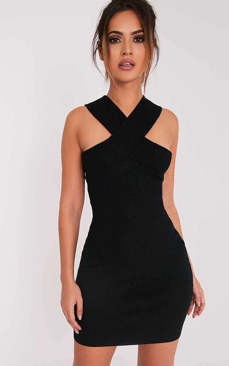 Aramiah robe mini moulante en maille côtelée noire 1