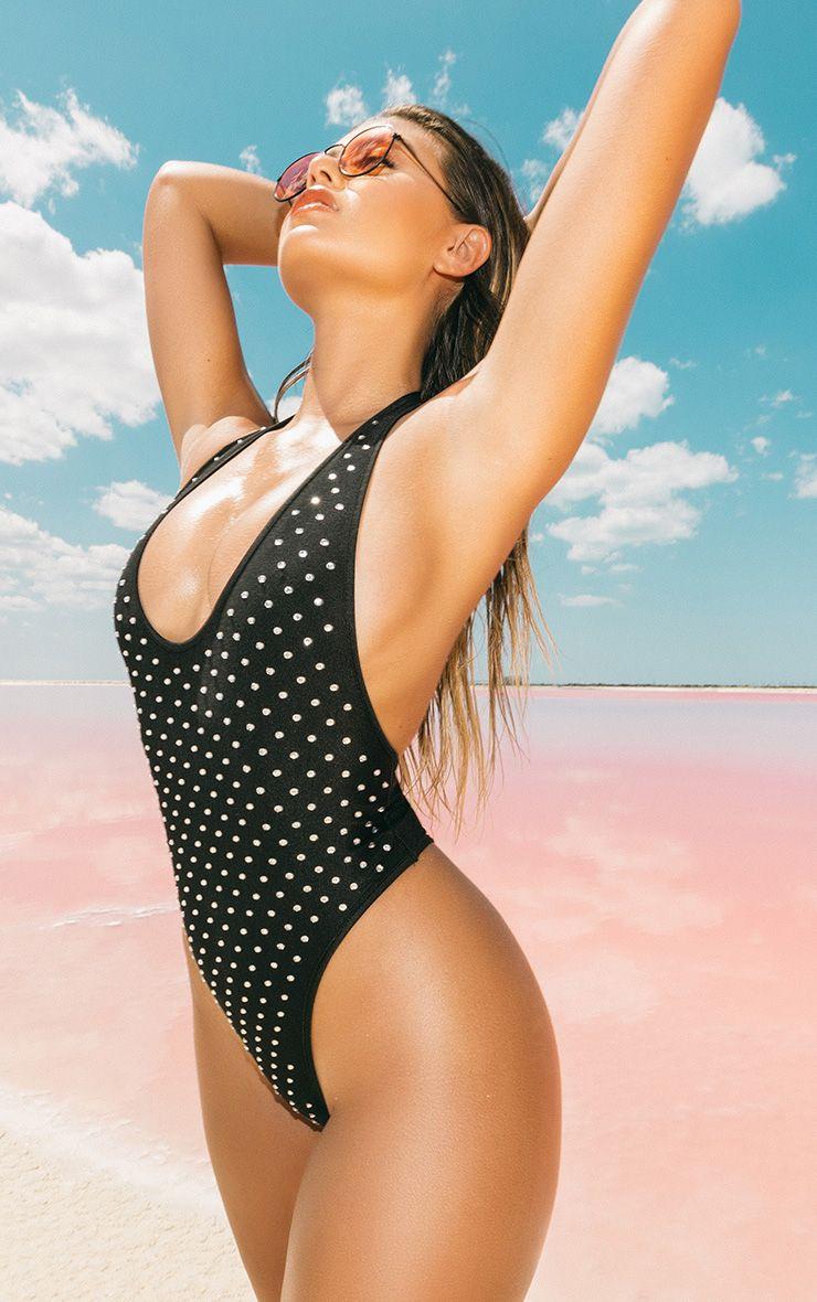 Premium Black Diamante Halterneck High Leg Swimsuit