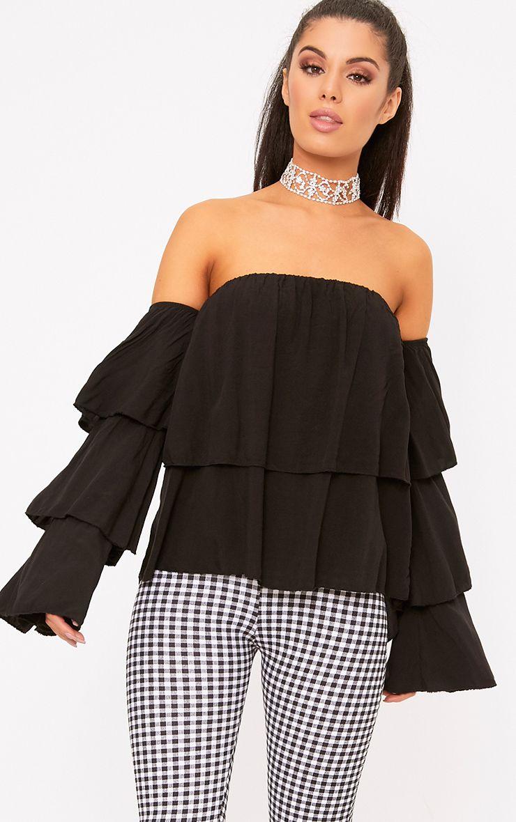Black Bardot Frill Sleeve Soft Shirt 1