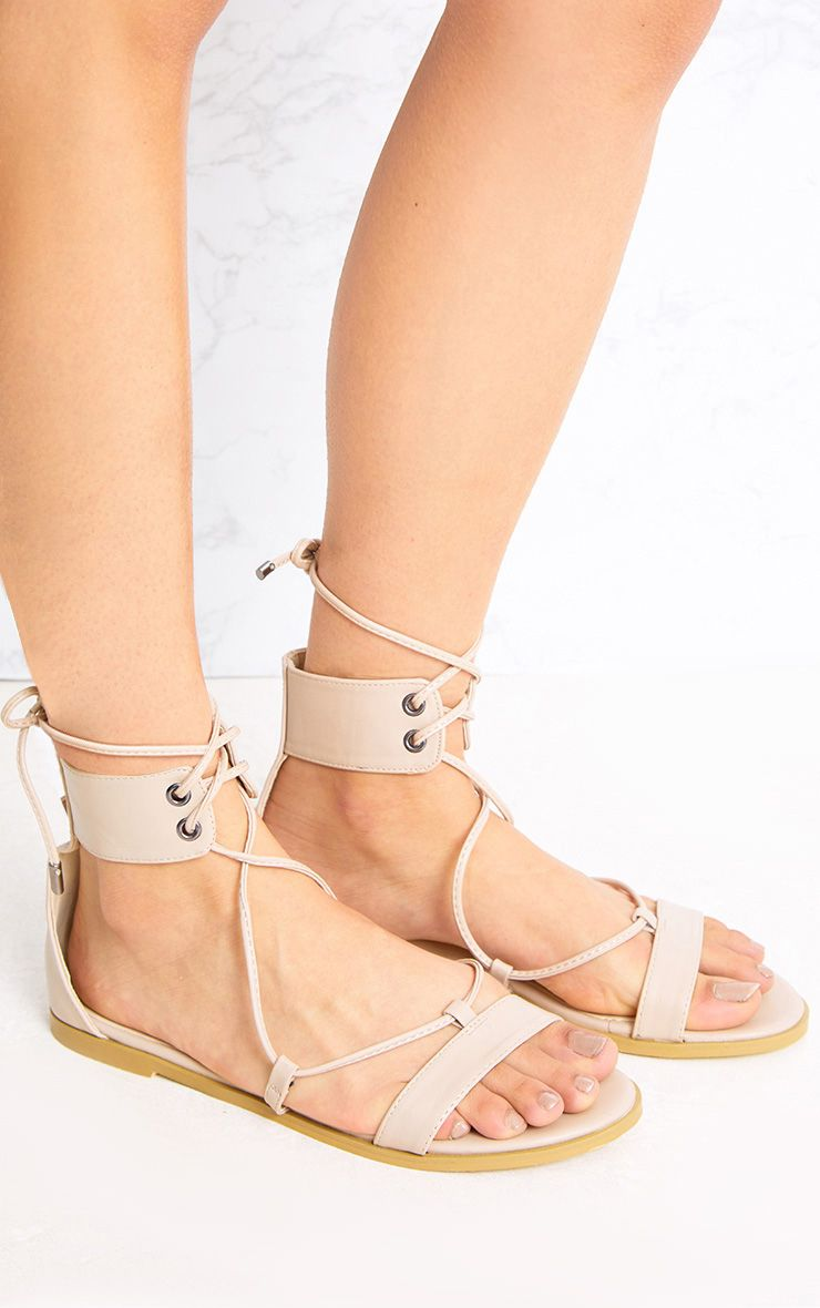 Kassia Nude Lace Up Sandals