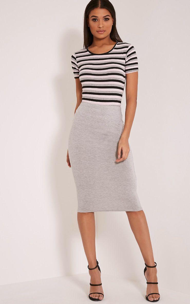 Basic Grey Midi Skirt