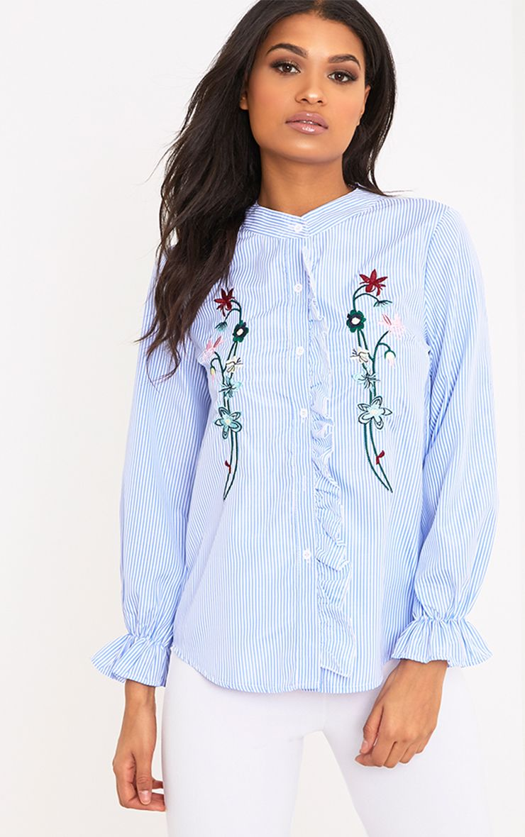 Linette Blue Embroidered Stripe Shirt