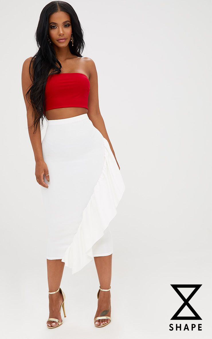 Shape White Frill Midi Skirt