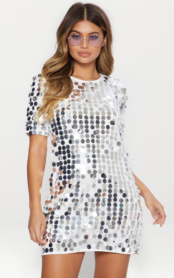 Silver Sequin T- Shirt Dress