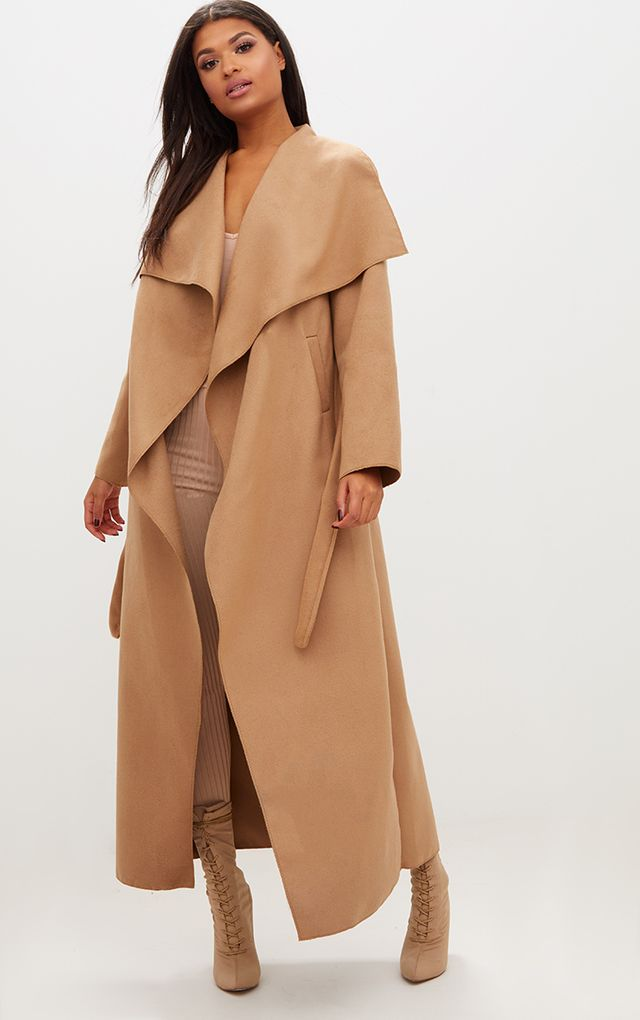 Camel Maxi Length Oversized Waterfall Belted Coat