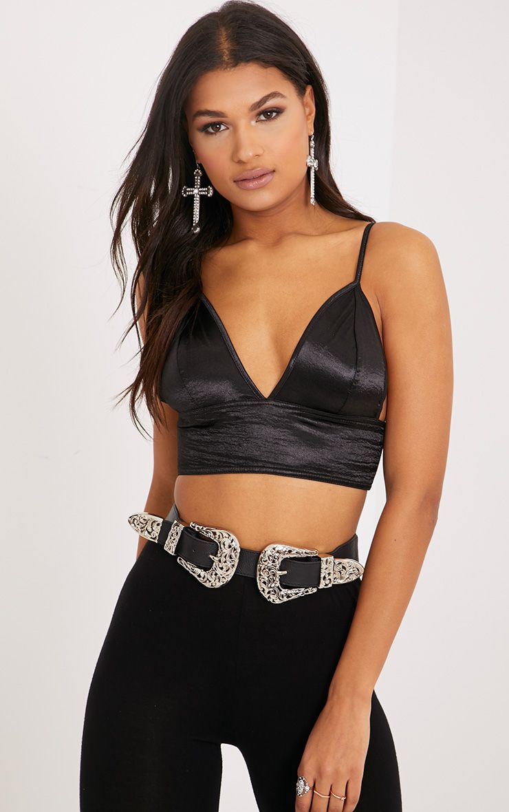 Luca Black Hammered Satin Triangle Bralet
